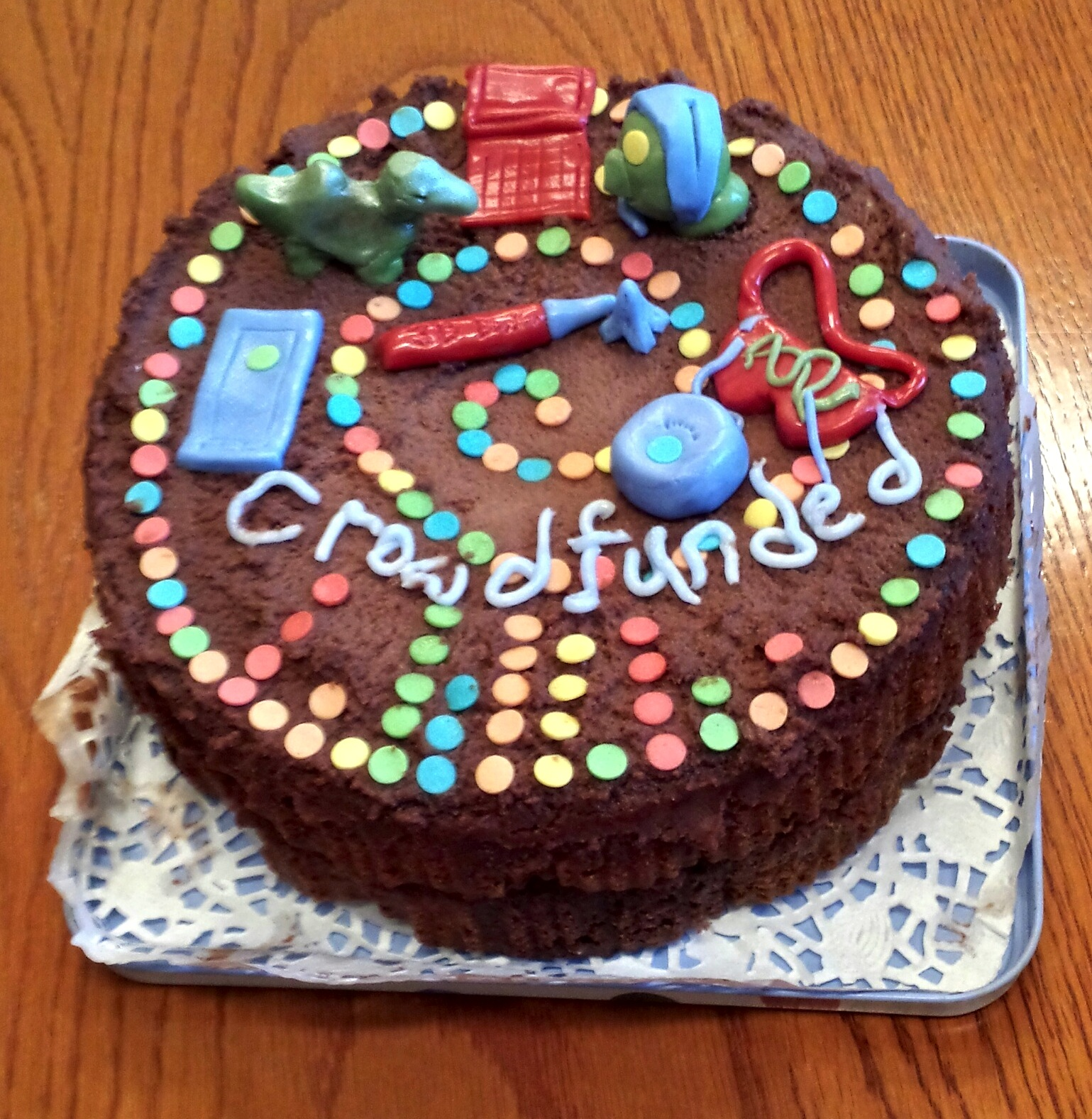 Themed crowdfunding cake expertly baked by Sheona Burrow