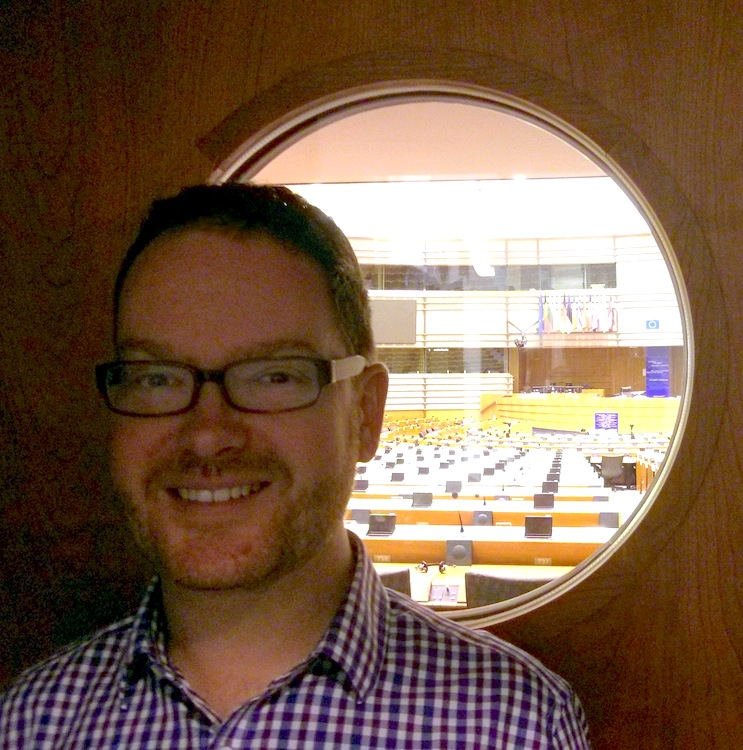CREATe researcher Kris Erickson at the European Parliament, site of EPIP 2014