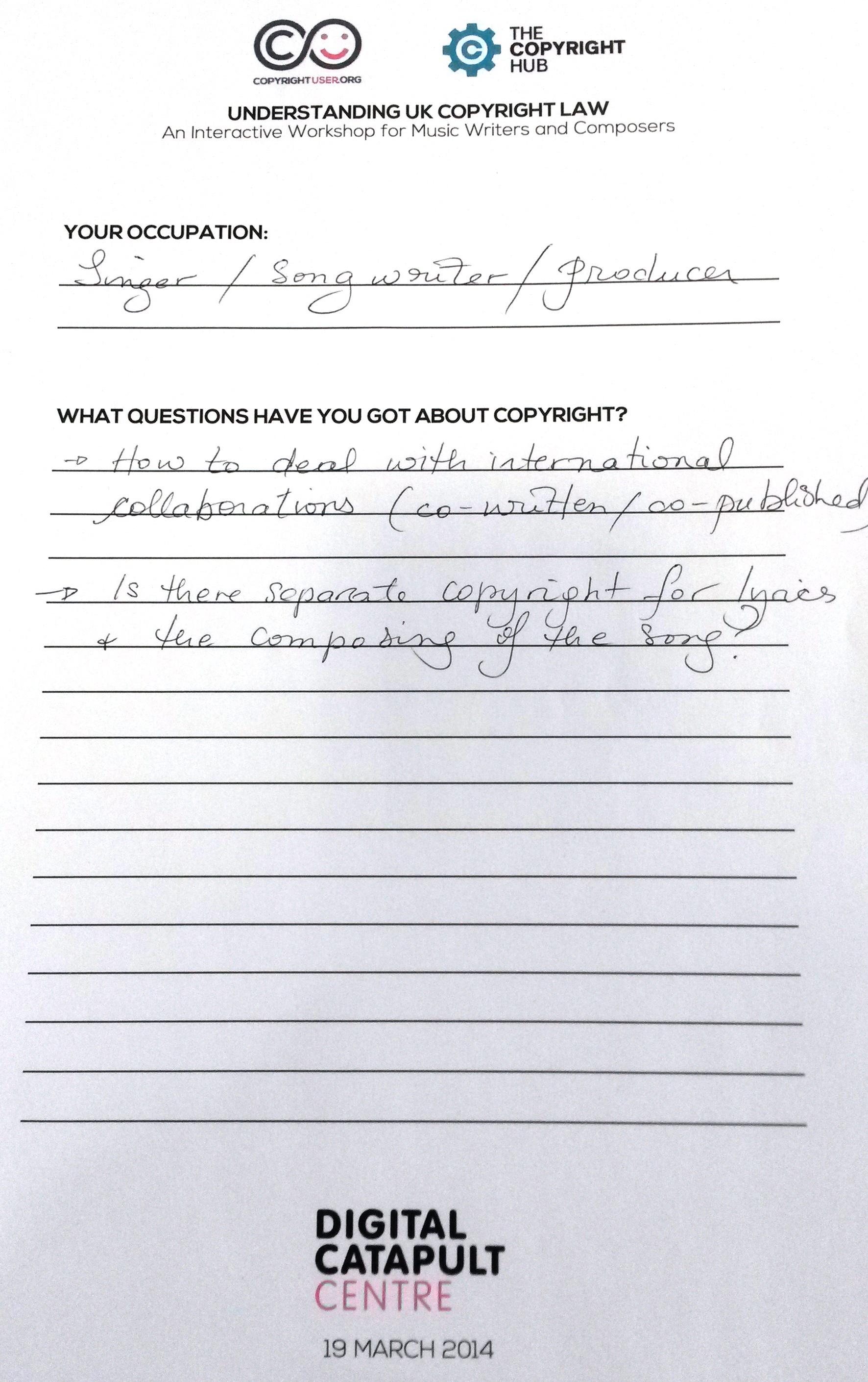 copyright user form