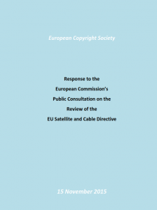 Response to European Commission Consultation on the Satellite and Cable Directive