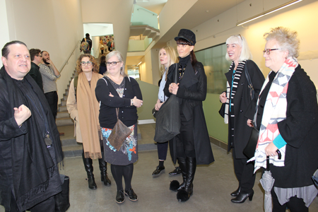Jimmy Stephen-Cran (left) commencing the tour of the new Glasgow School of Art building.