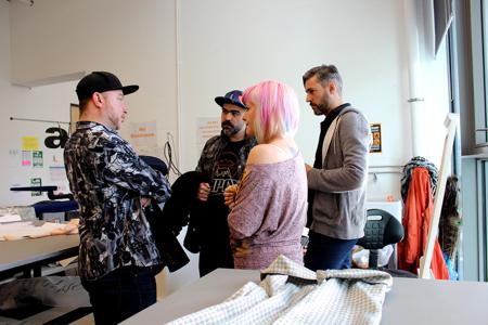 Designers Basso and Brooke and presenter Dan Strutt speak to the atelier technician at GSA.