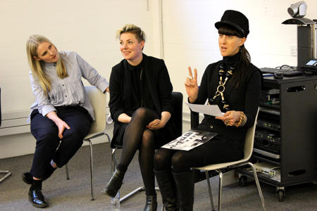 Designers Teija Eilola and Esther Perbandt, and innovator Marte Hentschel on the fashion professionals panel.