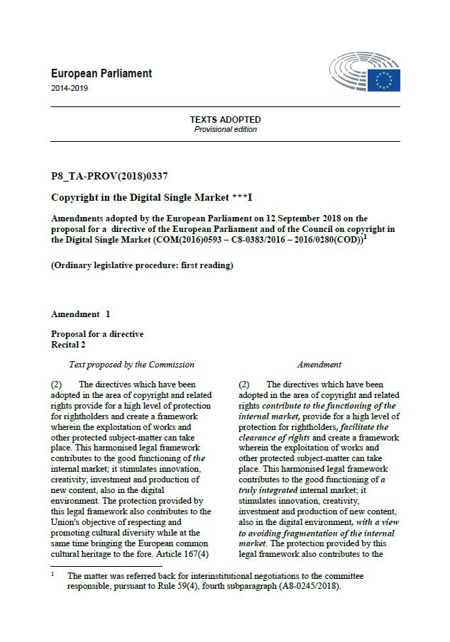 Plenary amendments adopted by the EU Parliament on 12 September 2018 2dfacc94ff2