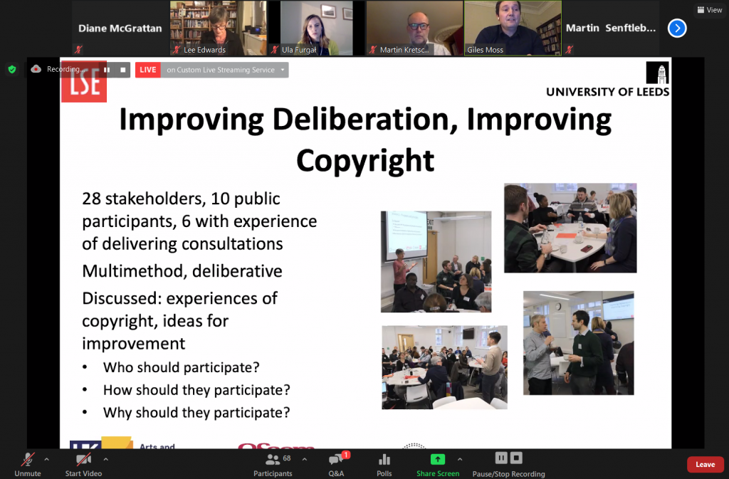 Screenshot of Zoom webinar from the Public Lecture